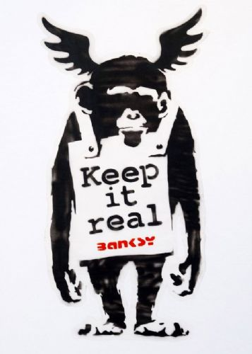 BANKSY - KEEP IT REAL MONKEY - Original canvas print - self adhesive poster - photo print